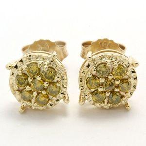 Jewelry - Solid 10k Yellow Gold 0.34ctw Genuine Diamond Stud